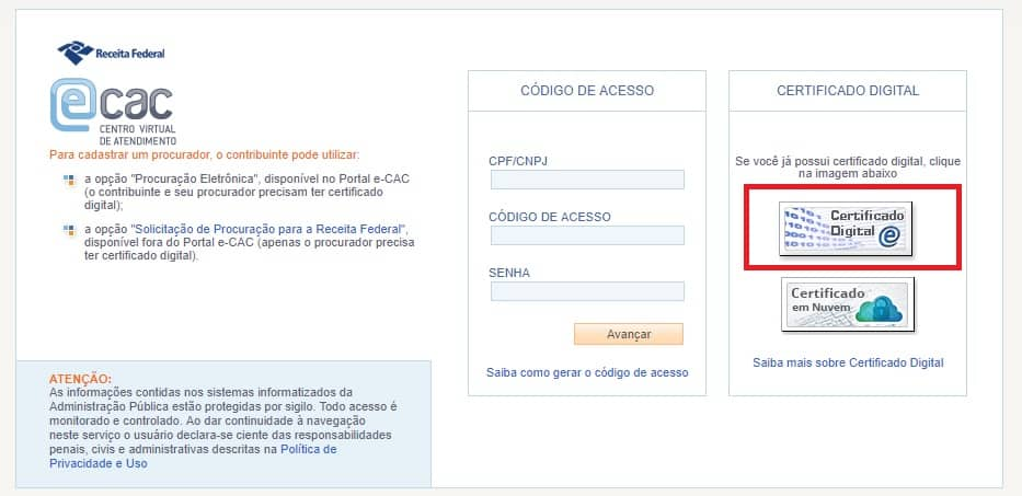 Teste do certificado digital acessando o site do eCAC